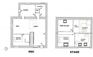 Plan du gîte La Grange de Thoré- gîte 6/8 personnes en Touraine
